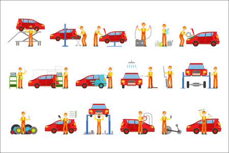 Car Repair Shop Services Set Of Illustrations. Mechanic At Work In The Garage Bright Color Simplified Cartoon Style Drawings On White Background.
