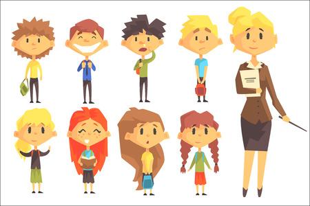 Szkoła podstawowa grupa uczniów z ich nauczycielką w garniturze zestaw postaci z kreskówek. Szkoła podstawowa klasa dzieci wektor stylizowane ilustracja w jasnych kolorach. Ilustracje wektorowe