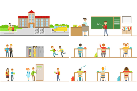 School Building Exterior And Kids In Its Corridors Illustrations. Flat Cartoon Minimalistic Vector Drawings On White Background.