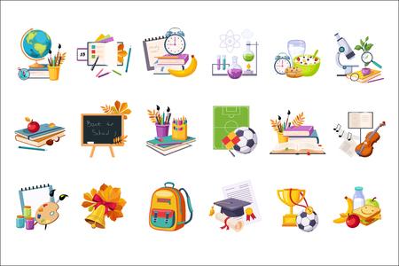 Insiemi Di Oggetti Correlati Scuola E Educazione. Adesivi colorati carino con articoli di inventario della scuola su sfondo bianco.