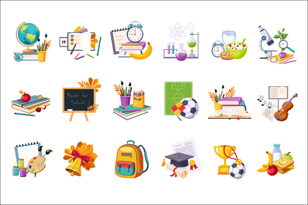 School And Eduction Related Sets Of Objects. Colorful Cute Stickers With School Inventory Items On White Background.