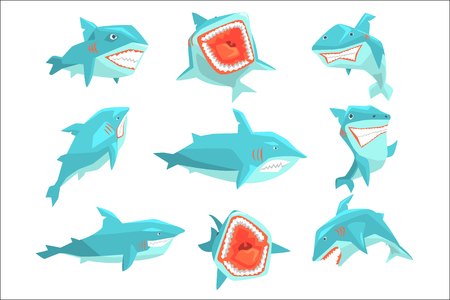 Great White Shark Marine Fish Living In Warm Sea Waters Realistic Cartoon Character Vector Set Of Different Views Illustrations. Collection Of Geometric Funky Drawings With Aggressive Dangerous Marine Species Icons.