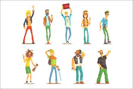 Personas pertenecientes a diferentes subculturas Conjunto de personajes de dibujos animados reconocibles con atributos de grupo cultural. Coloridas ilustraciones con chicos disfrazados de rapero, rockero, rastafari, punk y otros. Ilustración de vector