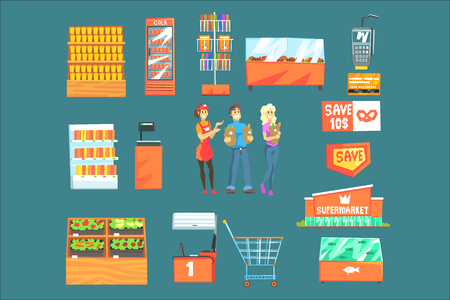 People Shopping For Groceries In Supermarket Surrounded By Shop Attributes Set Of Illustrations. Vector Collection In Geometric Simplified Cartoon Style With Shoppers And Their Purchases.