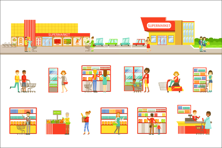 Supermarket Exterior And People Shopping Set Of Illustrations. Flat Cartoon Minimalistic Vector Drawings On White Background.