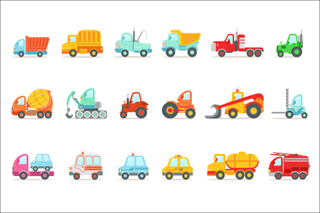 Service public, construction et voitures de travail sur route ensemble d'icônes de dessin animé jouet coloré. Illustrations vectorielles en couleurs vives avec des véhicules utilisés pour les travaux de construction et d'autres utilisations. Vecteurs