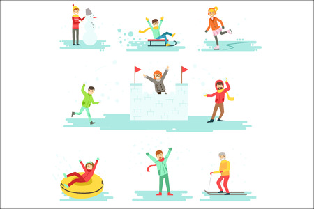 People Having Fun In Snow In Winter Set Of Illustrations Stock Vector - 106706467