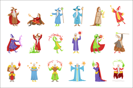 Classic Fantasy Wizards Set Of Characters. Fairy Tale Mages Colorful Fun Vector Drawings On White Background.