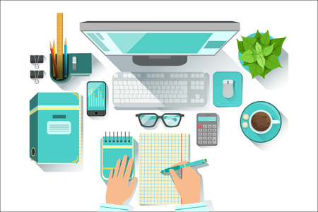 Office Worplace With Utilities And Stationary Including Computer, Coffee Cup, Glasses And Papers. Items For Fully Equipped Working Table Vector Illustration With View From Above.