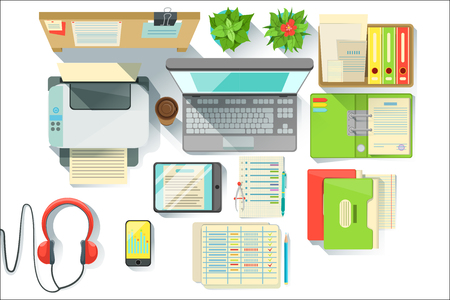 Office Worker Desk With Utilities And Stationary Including Lap Top Files And Printer. Items For Fully Equipped Working Table Vector Illustration With View From Above.