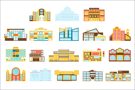 Shopping Mall, Department Store And Supermarket Shops Architecture Ideas Set