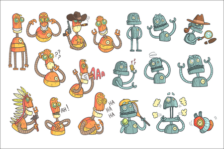 Orange Robot Set Of Cartoon Outlines Portraits