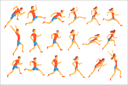 Male Sportsman Running The Track With Obstacles And Hurdles In Red Top Blue Short In Racing Competition Set Of Illustrations. Stock Illustratie