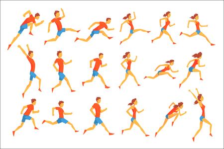 Deportista masculino corriendo la pista con obstáculos y vallas en corto azul superior rojo en competición de carreras conjunto de ilustraciones.