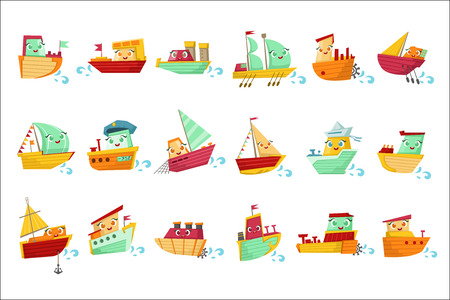 Toy Boats With Faces Colorful Illustration Set. Cartoon Cute Humanized Water Transport Characters Isolated On White Background. Illustration