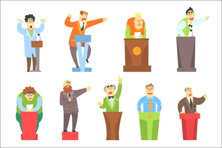 Men Speaking Publicly On Tribune Set Of Illustrations. Funny Simple Style Characters Lecturing And Doing Speeches Isolated On White Background. Stock Vector - 111889982