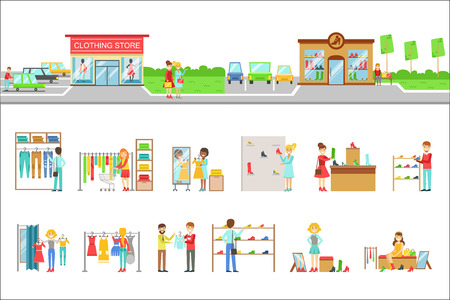 Clothing Store Exterior And People Shopping Set Of Illustrations. Flat Cartoon Minimalistic Vector Drawings On White Background. Illustration