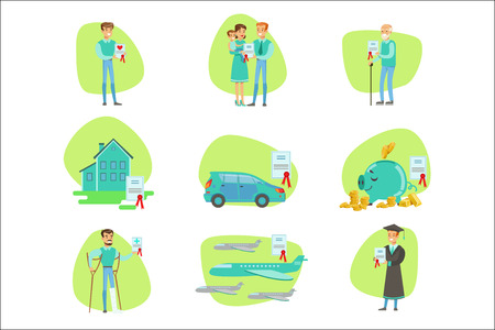 Insurance Contract Protecting Smiling People In Different Complicated Situations Insurance Company Services Infographic Illustrations. Set Of Vector Icons With Types Of Insurance Helping People To Protect Their Property And Other Things.