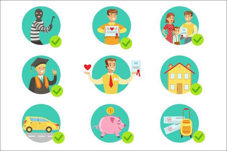 Contrato de seguro que protege a las personas sonrientes en caso de desgracia Servicios de la compañía de seguros Ilustraciones infográficas. Conjunto de iconos vectoriales con tipos de seguros que ayudan a las personas a proteger su propiedad y otras cosas.