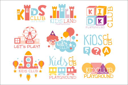 Kids Land Playground And Entertainment Club Set Of Bright Color Promo Signs For The Playing Space Children Illustration