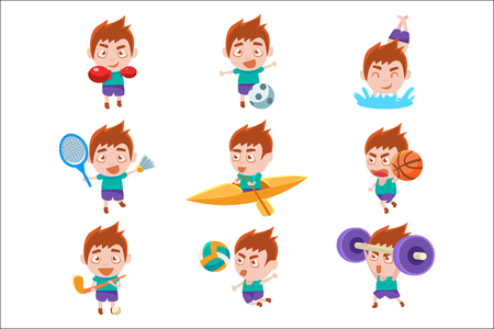 Kid Sportsman Doing Different Sport Types Set Of Illustrations. Colorful Vector Stickers With Sportive Boy Doing Assortment Of Training Workouts. Stockfoto - 111889984