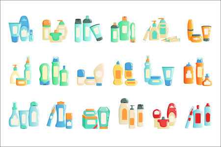 Cosmetc Products Bottles Sets Collection Of Illustrations. Different Containers Of One Brand Icons Isolated On White Background.