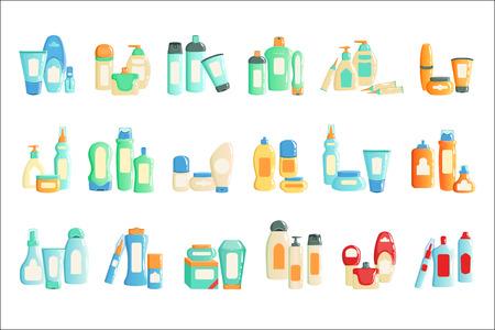 Bottiglie Di Prodotti Cosmetici Imposta Raccolta Di Illustrazioni. Diversi contenitori di icone di un marchio isolato su sfondo bianco.
