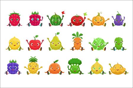 Fruit And Berries Cute Girly Characters Sitting And Waving Ilustrace