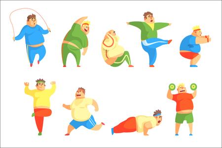 Personaggio divertente uomo paffuto facendo palestra allenamento insieme delle illustrazioni. Sport e ragazzo grasso divertenti semplici disegni dei cartoni animati isolati su sfondo bianco.