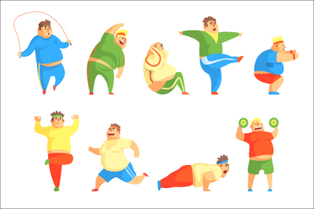 Funny Chubby Man Character Doing Gym Workout Set Of Illustrations. Sport And Fat Guy Funny Simple Cartoon Drawings Isolated On White Background.