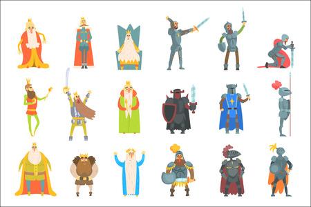 Fairy-Tale Kings Set Of Cartoon Fun Illustrations Stock Illustratie