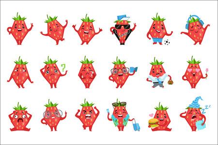 Geometrische Aardbei Karakter Grappige Emoticons. Kinderachtige grafische cartoon stickers geïsoleerd op een witte achtergrond met gehumaniseerd Berry. Vector Illustratie