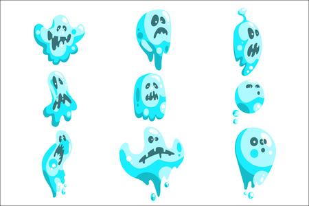 Fantômes bleus à la manière de dessin animé enfantin sur fond blanc. Illustrations vectorielles de dessin animé classique sans forme Spooks.