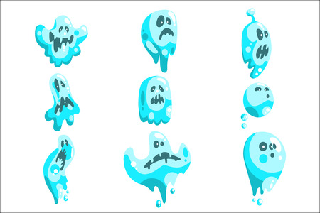 Blue Ghosts In Childish Cartoon Manner Set On White Background. Cartoon Classic Shapeless Spooks Vector Illustrations. Illustration
