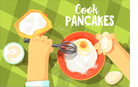 Pancakes Cooking Bright Color Illustration.Hands Working On Food Preparation View From Above Drawing. Flat Cartoon Style Vector Image. Illustration