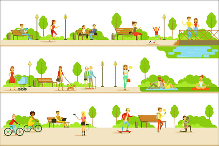 People Different Activities Outdoors Set Of Illustrations. Simple Cartoon Cute Style Flat Vector Drawings On White Background.