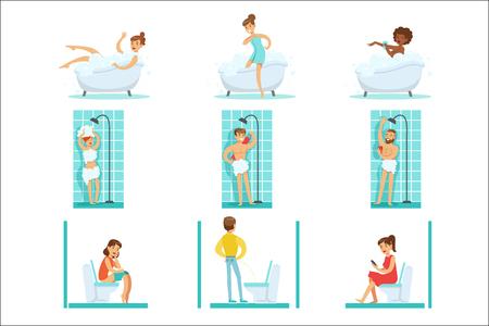 Personas en el baño haciendo sus procedimientos de higiene de rutina, bañándose, duchándose y usando el inodoro Ilustración de vector
