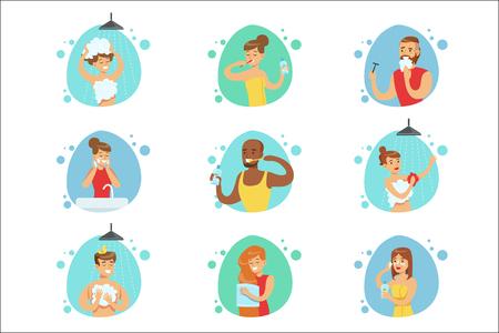 Persone in bagno che eseguono le procedure igieniche di routine, lavarsi i denti, radersi e lavarsi i capelli. Persone che usano la toilette per il lavaggio quotidiano e la pulizia personale insieme di illustrazioni vettoriali. Vettoriali