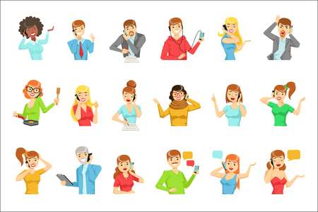 People Speaking On The Phone Set Of Illustrations. Men And Women Talking On Mobile Phone Colorful Vector Icons Isolated On White Background. Illustration