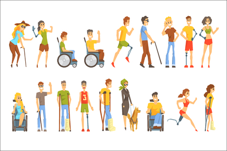 Young People With Permanent And Temporary Disabilities Overcoming The Injury And Living Full Live Collection Of Vector Illustrations. Set Of Handicapped Man And Women Happy Cartoon Characters Blind, In Wheelchair With Artificial Limbs And In Cast.