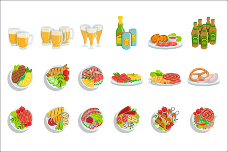 Oktoberfest Grill Set Of Food Plates Illustrations From Above. Beer Festival Classic Bbq Food Isolated Menu Items On White Background. Illustration