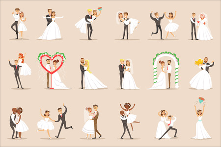 Newlyweds Posing And Dancing On The Wedding Party Set Of Scenes. Cute Bride And Groom Couples In Classic Outfits Simple Vector Illustrations On Pink Background.