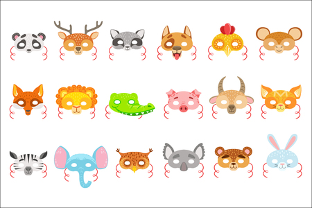 Animal Paper Masks Set Of Icons. Masks For Kids Carnival Costumes In Simple Colorful Style Isolated On White Background.