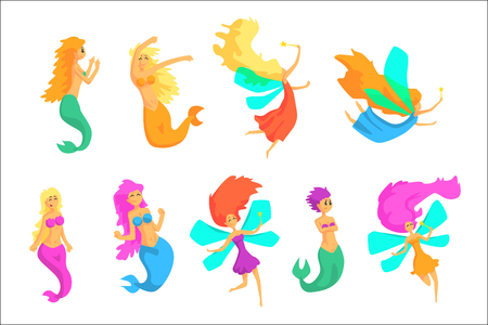 Mermaids And Fairies Fairy-Tale Fantastic Creatures With Wings And Fish Tail Set Of Colorful Cartoon Characters. Girly Fairy Story Collection Of Vector Illustrations With Magical Female Creatures.