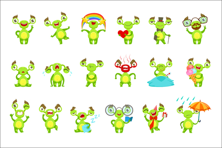Green Monster Character Different Emotions And Situations Set. Funny Childish Fantastic Creature Emoticon Icons On White Background.