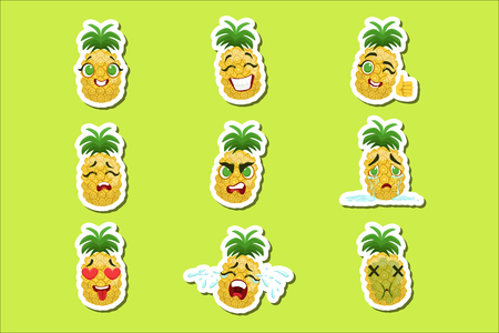 Autocollants Emoji Mignons Ananas Sur Fond Vert. Caractère humanisé avec différentes émotions Collection d'icônes isolées au design coloré.