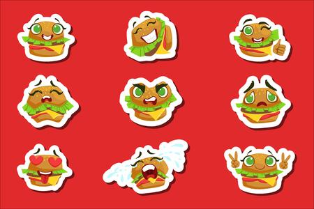 Hamburger Leuke Emoji Stickers Set. Gehumaniseerd karakter met verschillende emoties Verzameling van geïsoleerde pictogrammen in kleurrijk ontwerp. Vector Illustratie