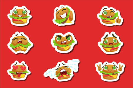 Burger Cute Emoji Stickers Set . Humanized Character With Different Emotions Collection Of Isolated Icons In Colorful Design.