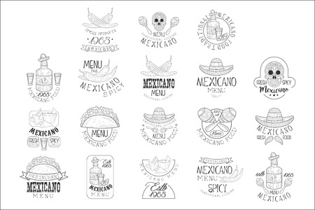 National Traditional Mexican Cuisine Restaurant Hand Drawn Black And White Sign Design Template Collection With Cultural Symbols Of Mexico