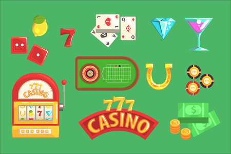 Gambling And Casino Night Club Set Of Symbols, Including Cards, Dices , Roulette Table, Chips And Slot Machine. Cartoon Gaming Club Classic Elements Vector Illustrations Collection.
